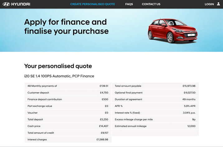 Hyundai click to buy website screenshot